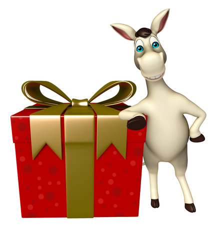 cuteness: 3d rendered illustration of Donkey cartoon character  with gift box