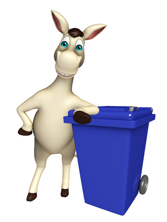 dustbin: 3d rendered illustration of Donkey cartoon character with dustbin