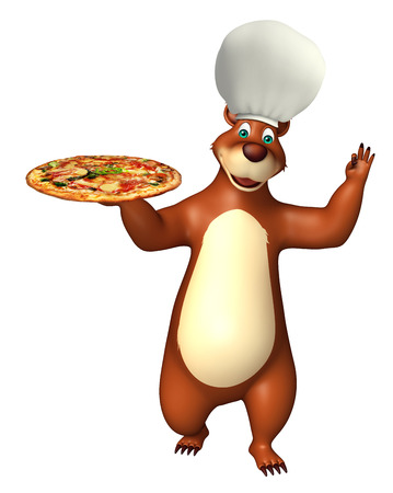 directly: 3d rendered illustration of Bear cartoon character with pizza