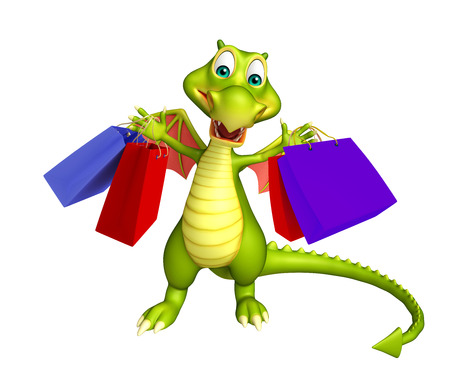 3d dragon: 3d rendered illustration of Dragon cartoon character with shopping bag Stock Photo
