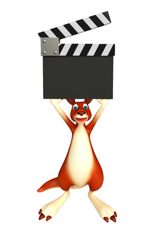 clapboard: 3d rendered illustration of Kangaroo cartoon character with clapboard