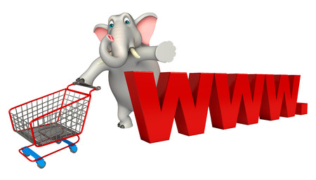 trolly: 3d rendered illustration of Elephant cartoon character with www. sign and trolly