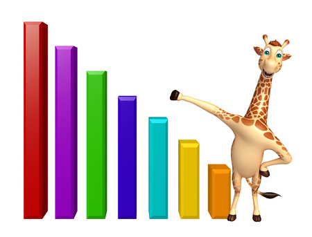 tall grass: 3d rendered illustration of Giraffe cartoon character with graph Stock Photo