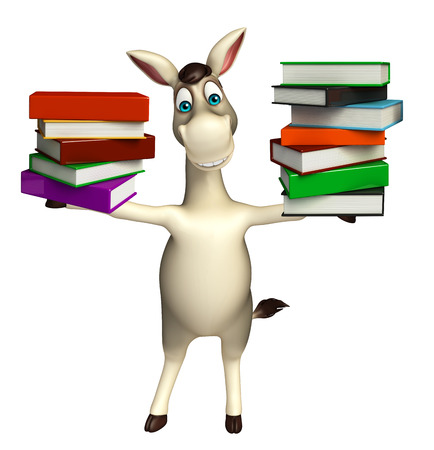 cuteness: 3d rendered illustration of Donkey cartoon character with book stack