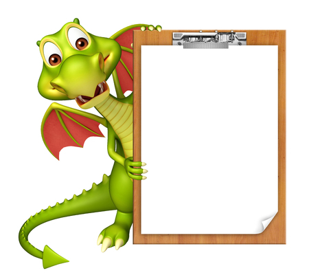 3d dragon: 3d rendered illustration of Dragon cartoon character exam pad Stock Photo