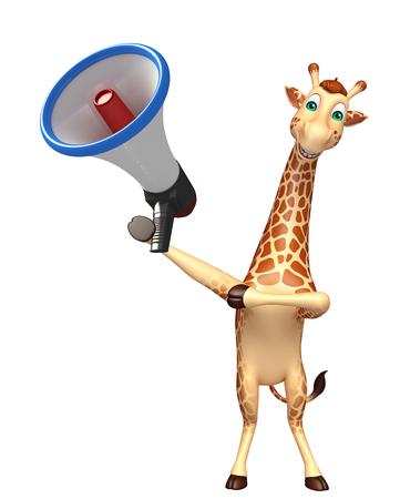 loud speaker: 3d rendered illustration of Giraffe cartoon character with loud speaker