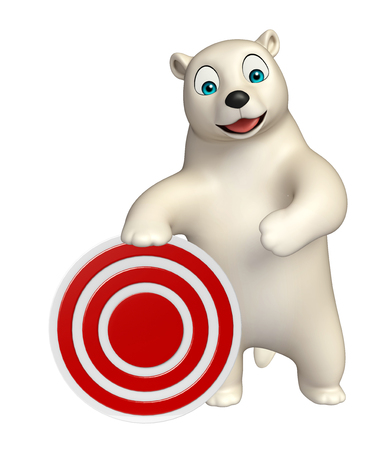 hunny: 3d rendered illustration of Polar bear cartoon character with target sign