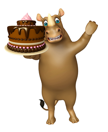 fudge: 3d rendered illustration of Rhino cartoon character with cake