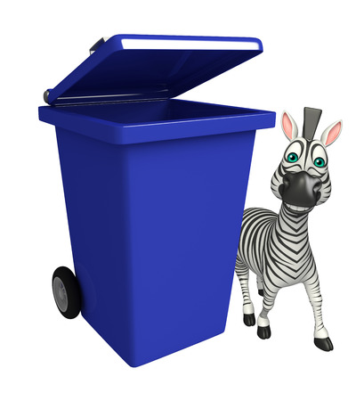 dustbin: 3d rendered illustration of Zebra cartoon character with dustbin