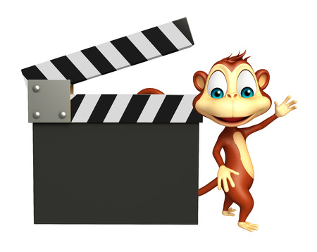 clapboard: 3d rendered illustration of Monkey cartoon character with clapboard