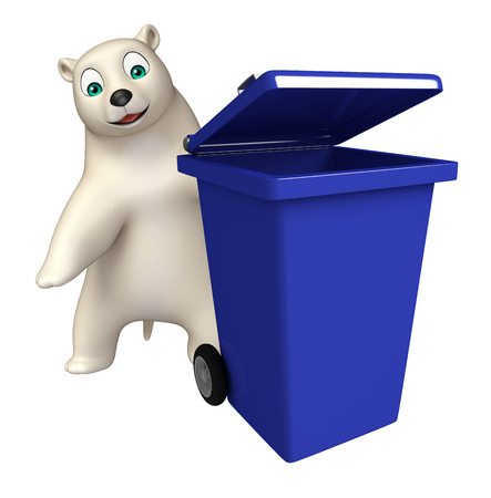 hunny: 3d rendered illustration of Polar bear cartoon character with dustbin Stock Photo