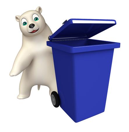 hunny: 3d rendered illustration of Polar bear cartoon character with dustbin Stock Photo