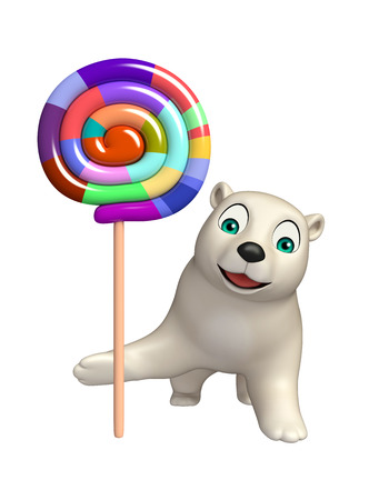 lollypop: 3d rendered illustration of Polar bear cartoon character with lollypop