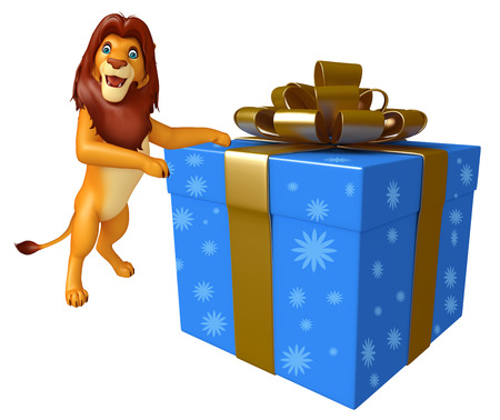 christmas gift box: 3d rendered illustration of Lion cartoon character with giftbox