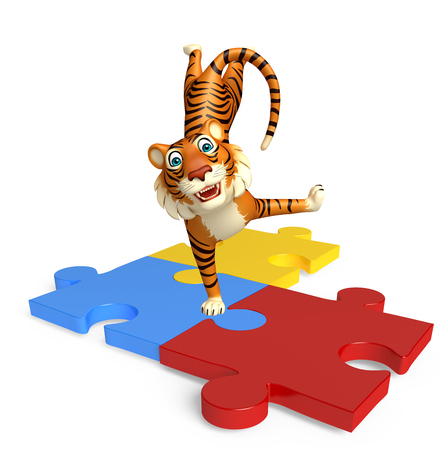 jig saw: 3d rendered illustration of Tiger cartoon character with puzzle
