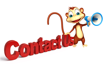 3d contact us: 3d rendered illustration of Monkey cartoon character with contact us and loud speaker
