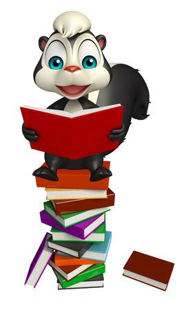 mofeta: 3d rindi� la ilustraci�n de personaje de dibujos animados de la mofeta con el libro Foto de archivo
