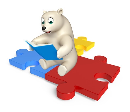 jig saw: 3d rendered illustration of Polar bear cartoon character with books and puzzle