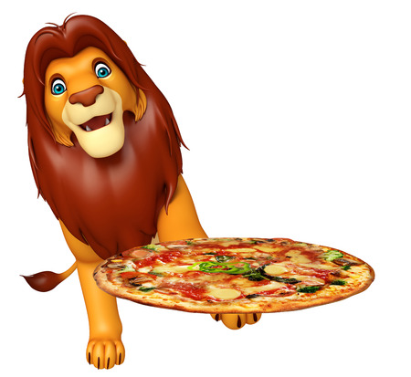 3d lion: 3d rendered illustration of Lion cartoon character with pizza Stock Photo