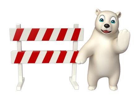 zoo traffic: 3d rendered illustration of Polar bear cartoon character with baracade Stock Photo