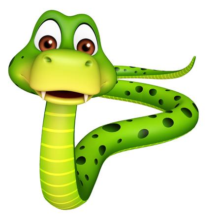serpiente caricatura: 3d rindió la ilustración de dibujos animados de la serpiente pie carácter