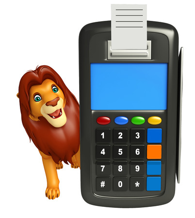 3d lion: 3d rendered illustration of Lion cartoon character with swap machine Stock Photo