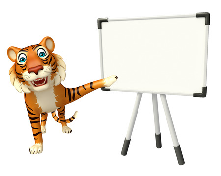 display board: 3d rendered illustration of Tiger cartoon character with display board