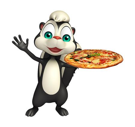 zorrillo: 3d rindió la ilustración de personaje de dibujos animados con la pizza de la mofeta