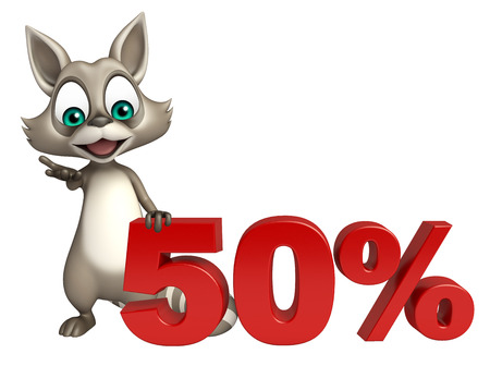 mammalia: 3d rendered illustration of Raccoon cartoon character with 50% sign