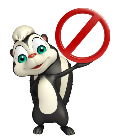 mofeta: 3d rindi� la ilustraci�n de personaje de dibujos animados de la mofeta con se�al de stop