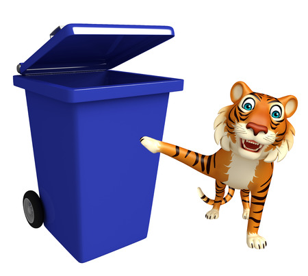 dustbin: 3d rendered illustration of Tiger cartoon character with dustbin
