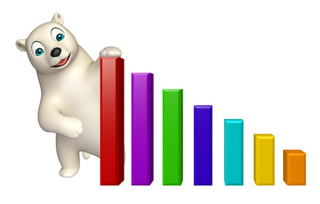 hunny: 3d rendered illustration of Polar bear cartoon character with graph Stock Photo