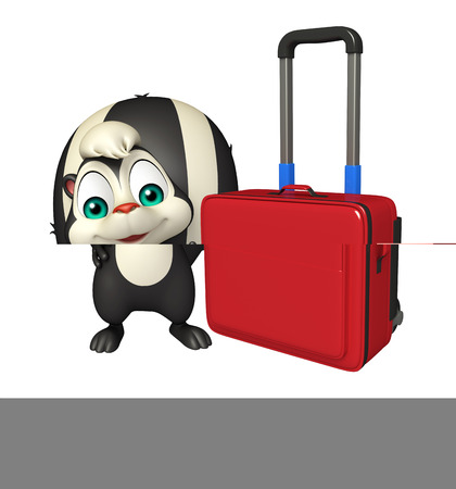 mammalia: 3d rendered illustration of Skunk cartoon character with travel bag