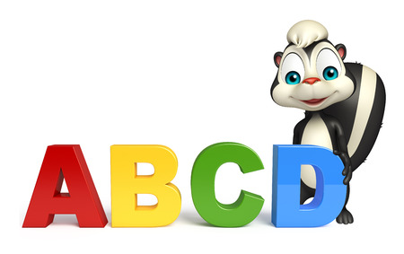 skunk: 3d rendered illustration of Skunk cartoon character with abcd sign