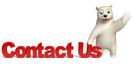 contact us sign: 3d rendered illustration of Polar bear cartoon character wiith contact us sign Stock Photo
