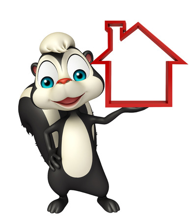 skunk: 3d rendered illustration of Skunk cartoon character with home sign