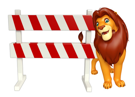 3d lion: 3d rendered illustration of Lion cartoon character with baracade Stock Photo
