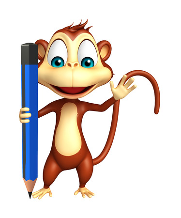 mammalia: 3d rendered illustration of Monkey cartoon character with pencil Stock Photo