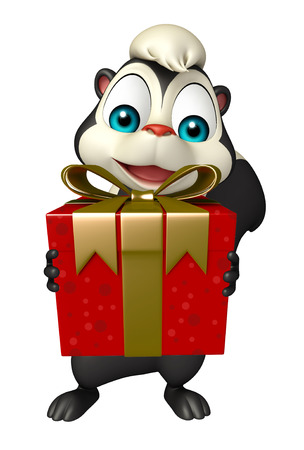 skunk: 3d rendered illustration of Skunk cartoon character with giftbox Stock Photo