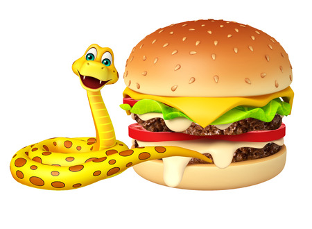 mammalia: 3d rendered illustration of Snake cartoon character with burger Stock Photo