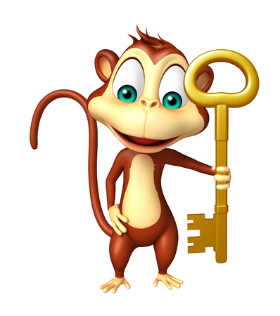 mammalia: 3d rendered illustration of Monkey cartoon character with key