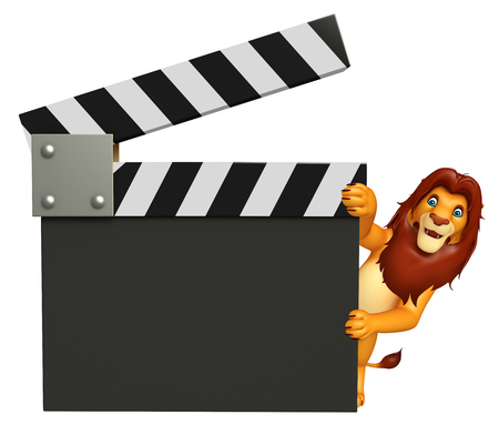 clapboard: 3d rendered illustration of Lion cartoon character with clapboard