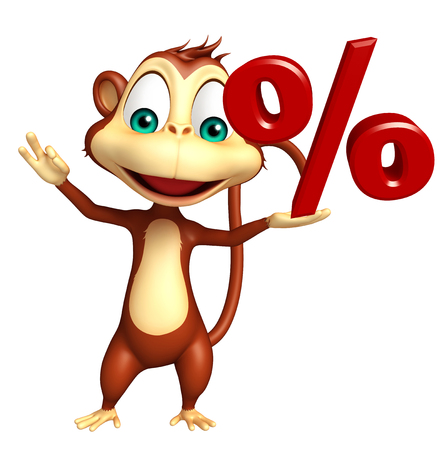 mammalia: 3d rendered illustration of Monkey cartoon character with % sign