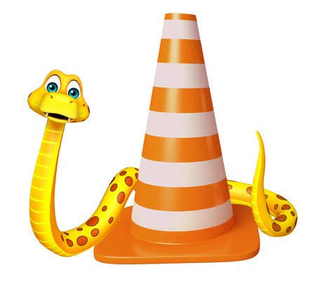 zoo traffic: 3d rendered illustration of Snake cartoon character with construction cone