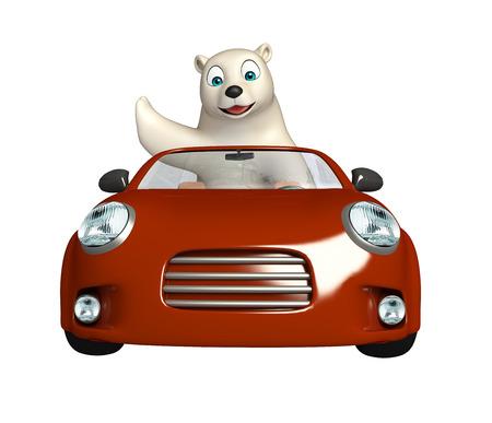 hunny: 3d rendered illustration of Polar bear cartoon character with car