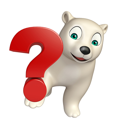 hunny: 3d rendered illustration of Polar bear cartoon character with question sign