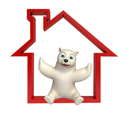 hunny: 3d rendered illustration of Polar bear cartoon character with home sign