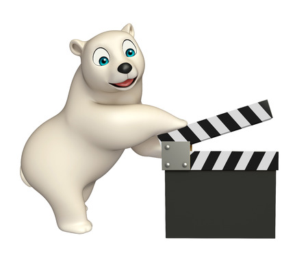 clapboard: 3d rendered illustration of Polar bear cartoon character with clapboard Stock Photo
