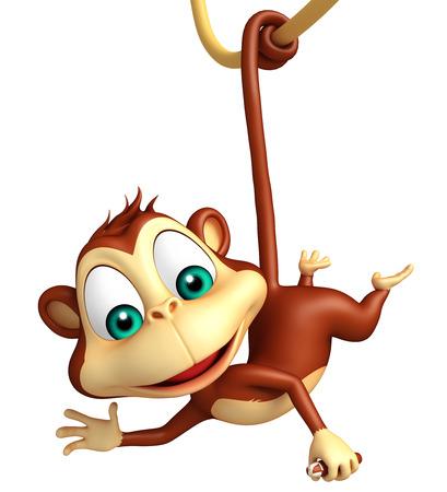 monos: 3d rindió la ilustración de personaje de dibujos animados divertido del mono