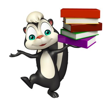 zorrillo: 3d rindió la ilustración de personaje de dibujos animados de la mofeta con el libro Foto de archivo